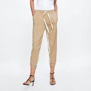 NWOT Zara Size L Jogging Cream Side Stripe Pants